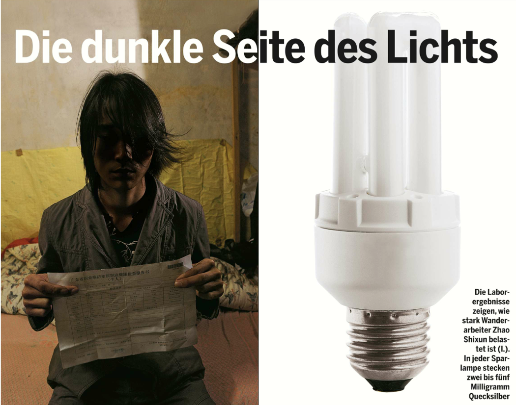 """The dark side of the light"", stern 13/2010 Reportage about the decision of the European Union to ban filament light bulbs across all 27 member states,  which wastes 90 percent of its energy use as heat, not light. On the contrary,  an ordinary energy-saving bulb contains five milligrammes of mercury – just enough to cover the tip of a ball-point pen, but capable of polluting 1,800 tonnes of groundwater. Also, thousands of Chinese factory workers who manufacture 'environmentally friendly' mercury compact fluorescent light bulbs (CFLs) for export to first world countries have been poisoned and hospitalized because of mercury exposure over the last decade. Photos: Richard Jones"