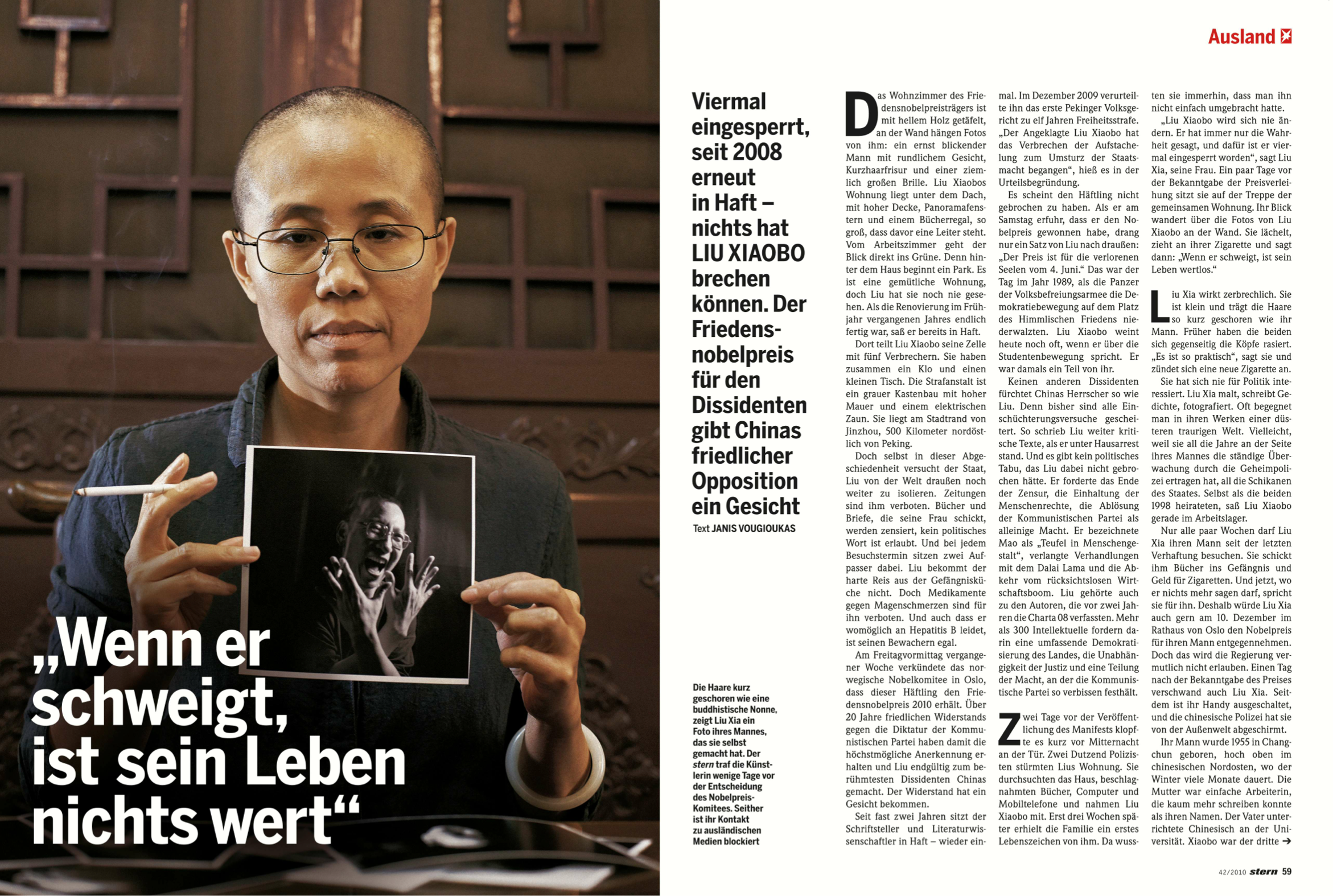 """When he is silent, his life is not worth a penny"", stern 42/2010 Four times imprisoned, since 2008 in jail - nothing could break his spirit. The Piece-Nobel-Prize for Liu Xiaobo gives the opposition in China a face. Photo: stern"