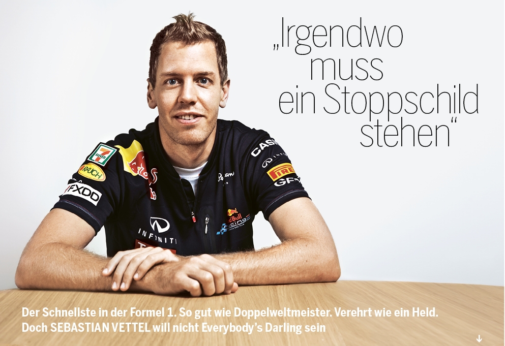 Interview with Formula-One champion Sebastian Vettel in Singapore. Photo: Cedric Arnold